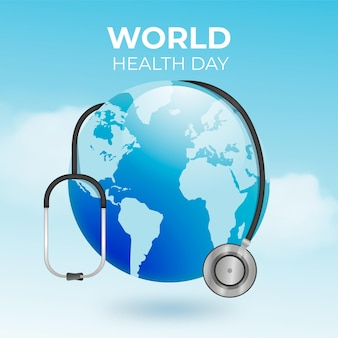 Ilustração realista do dia mundial da saúde com planeta e estetoscópio