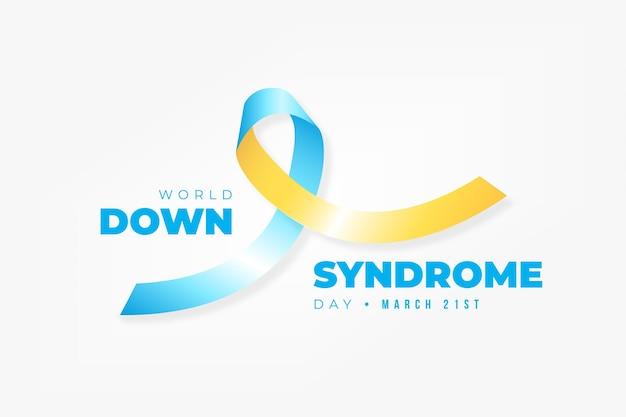 Ilustração realista do dia mundial de síndrome de down com fita Vetor grátis