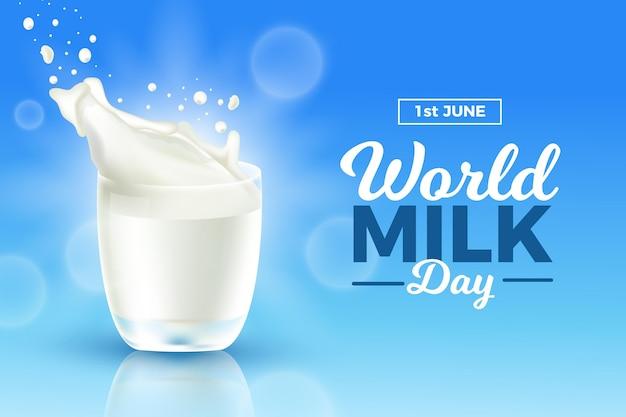 Ilustração realista do dia mundial do leite