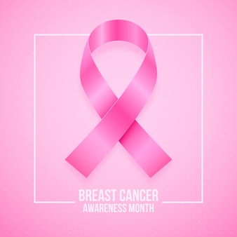 Ilustração realista do mês de conscientização do câncer de mama