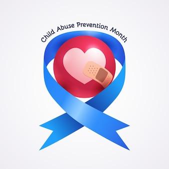 Ilustração realista do mês nacional de prevenção do abuso infantil