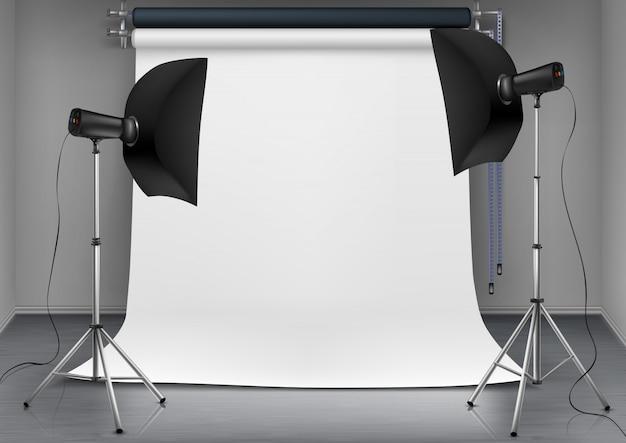 Ilustração realista do quarto vazio com tela branca em branco, luzes de estúdio com caixas macias