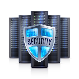Ilustração realista do servidor rack segurança escudo