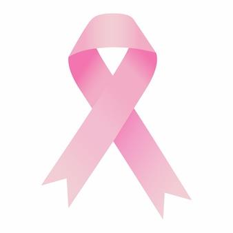 Ilustração realista do símbolo de conscientização de câncer de fita rosa
