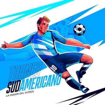 Ilustração realista do torneio de futebol sul-americano