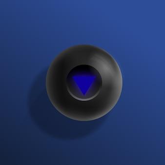 Ilustração realista do vetor da bola da mágica oito dos bilhar.