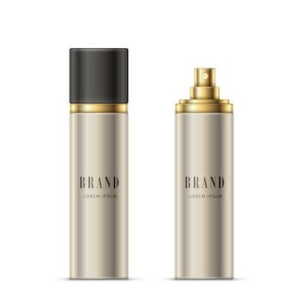 Ilustração realista do vetor de uma garrafa de spray de cor prateada com um pulverizador dourado e tampa preta