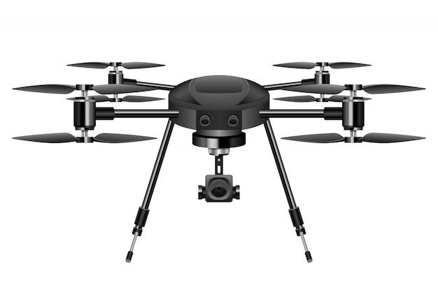 Ilustração realista drone em fundo branco