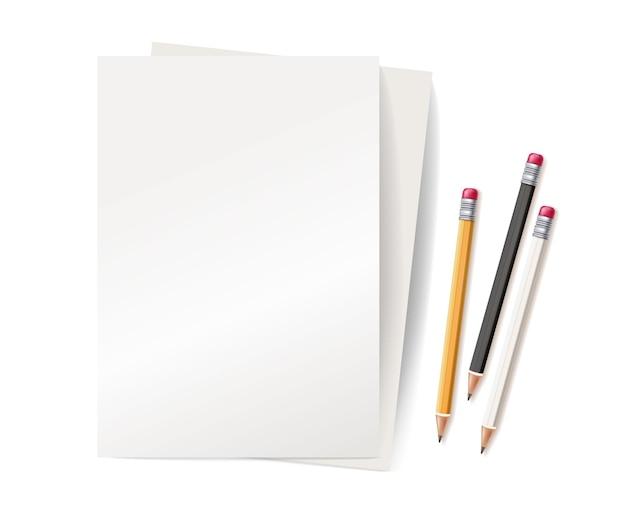 Ilustração realista em 3d amarelo e branco com borracha de borracha a lápis de madeira