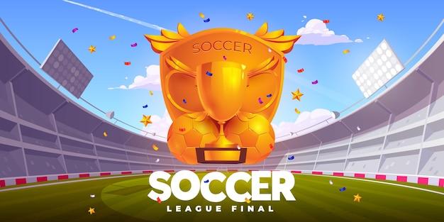 Ilustração realista final da liga de futebol