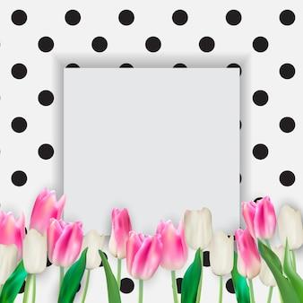 Ilustração realista fundo colorido de tulipas com moldura
