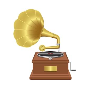 Ilustração realista gramofone isolada no branco