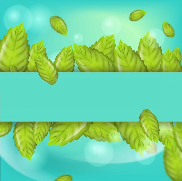 Ilustração realista horizontal hortelã folhas 3d