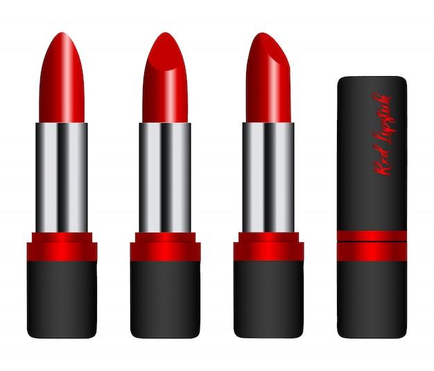 Ilustração realista isolado batom vermelho. vista lateral, frontal e traseira. batons com e sem tampa. batom