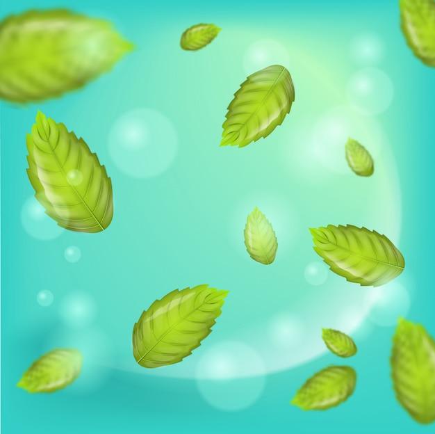 Ilustração realista voando vetor de folha de hortelã
