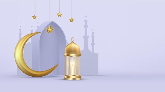 Ilustração realística tridimensional do ramadan kareem