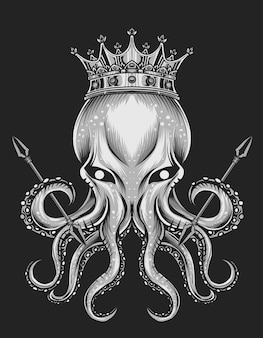 Ilustração rei polvo em fundo preto