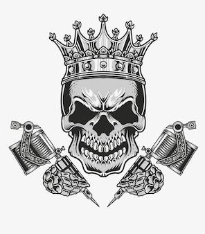 Ilustração rei tatuagem de caveira