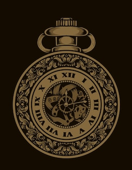 Ilustração relógio antigo com gravura ornamento syle