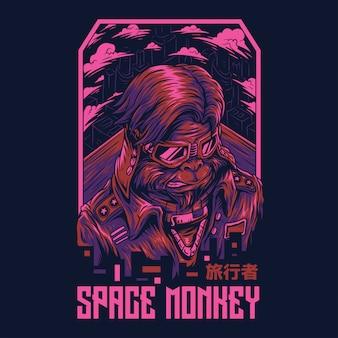 Ilustração remasterizada do macaco do espaço