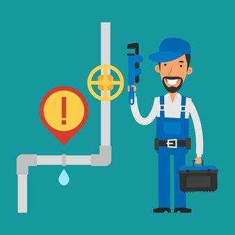 Ilustração, reparador segurando a chave inglesa e sorrindo, formato eps 10