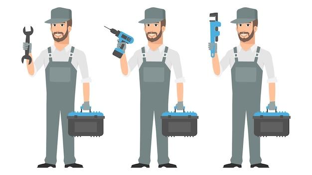 Ilustração, reparador segurando ferramentas chave de fenda, formato eps 10