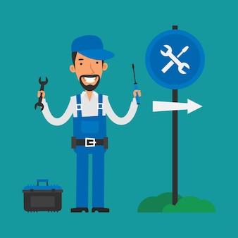 Ilustração, reparador segurando uma chave de fenda e uma chave inglesa, formato eps 10