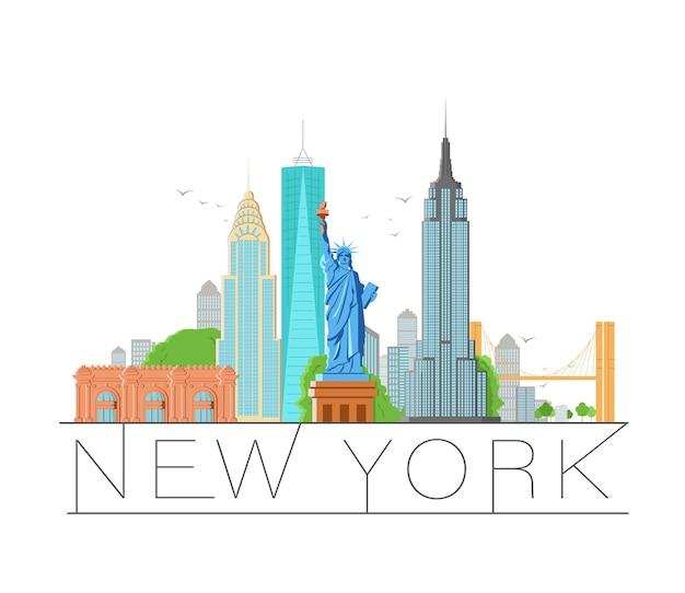 Ilustração retro da arquitetura da cidade de nova york, silhueta da cidade do horizonte, arranha-céu, design plano