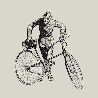 Ilustração retro da identidade corporativa do logotipo do mailman