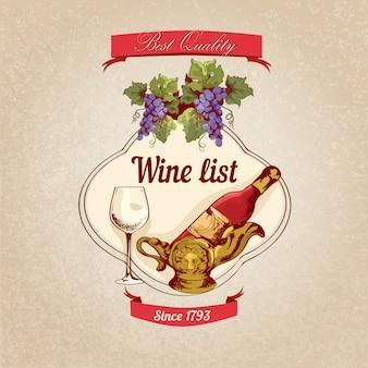Ilustração retrô de carta de vinhos