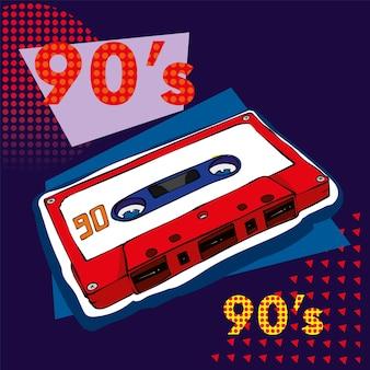 Ilustração retro de cassete de áudio