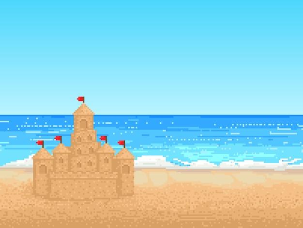 Ilustração retrô de castel de areia na praia em pixel art