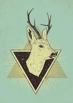 Ilustração retro de cervo com triângulos