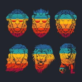 Ilustração retrô de coleção de leão