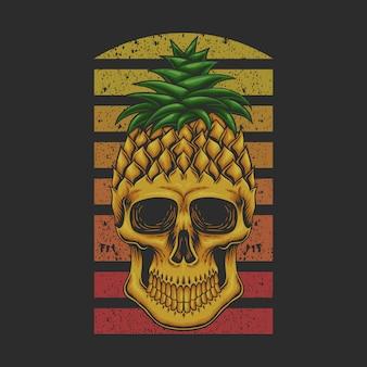 Ilustração retrô de crânio de abacaxi