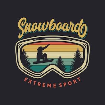 Ilustração retrô de esporte radical de snowboard