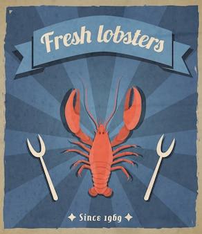 Ilustração retrô de lagostas frescas
