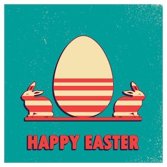 Ilustração retrô de ovo de páscoa e coelhos para segundo plano de férias. cartão de estilo vintage e criativo