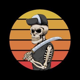 Ilustração retrô do crânio gangster pôr do sol