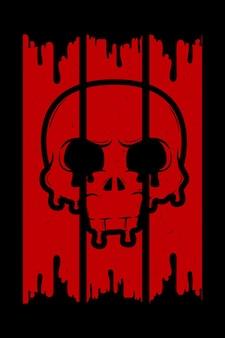 Ilustração retro do crânio sangrento