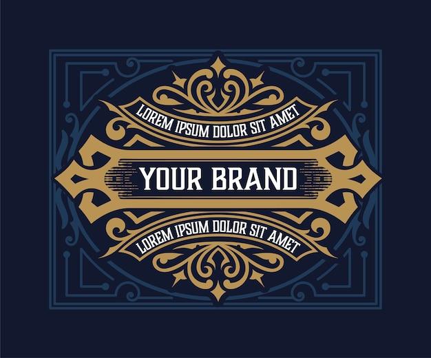 Ilustração retro do design vintage da etiqueta do licor