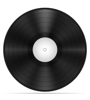 Ilustração retro do estoque do disco de vinil isolada no fundo branco