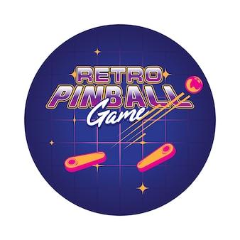 Ilustração retro do jogo de pinball