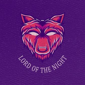 Ilustração retro do lobo para design de camisetas