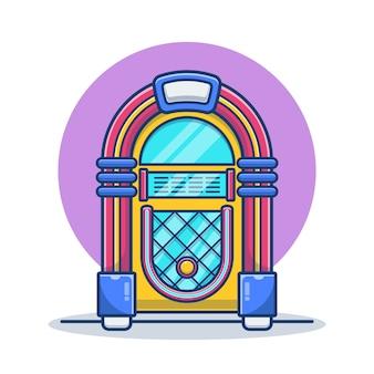 Ilustração retro dos desenhos animados da música jukebox