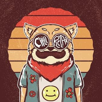 Ilustração retrô hippie shiba inu cachorro