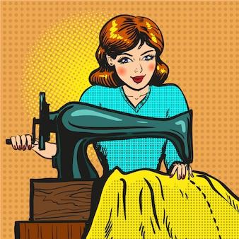 Ilustração retrô pop art de costureira costura na máquina