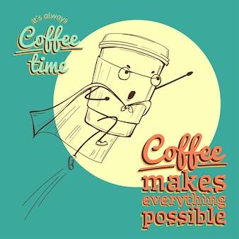 Ilustração retro vintage coffee com vetor de personagem de super-herói