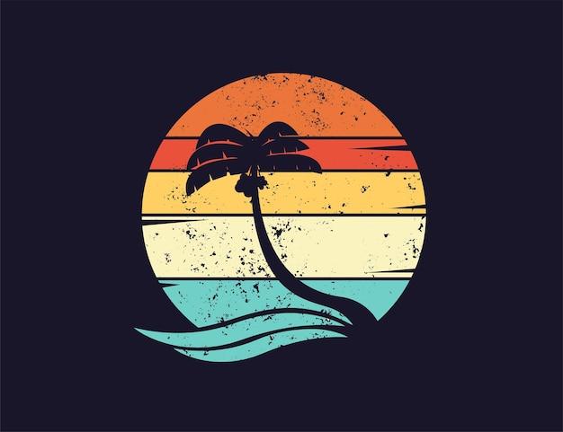 Ilustração retro vintage de palmeira ou coqueiro