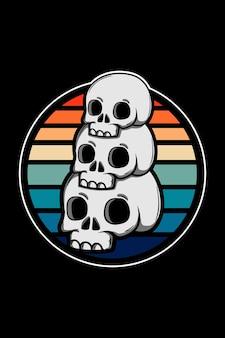 Ilustração retro vintage de três crânios